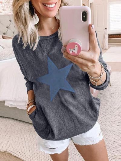 Star Printed long sleeve T-shirts