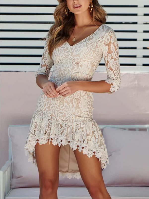 Sequins sexy v-neck lace patchwork bodycon dresses