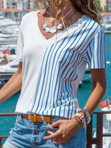 Floral Stripe V neck Short sleeve T-shirts