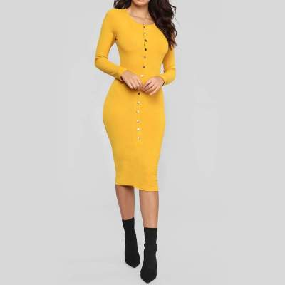Sexy Round neck Long sleeve  Fastener Bodycon Dresses