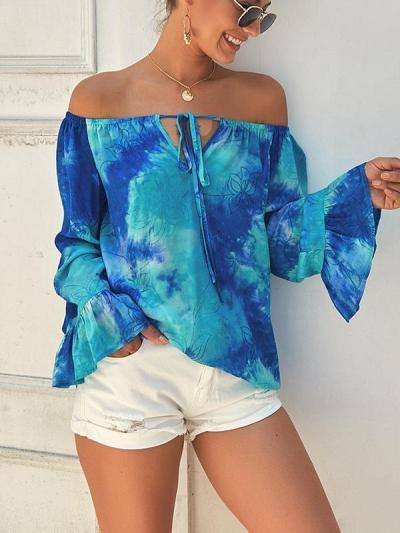 Off shoulder women printed long sleeve Blouses