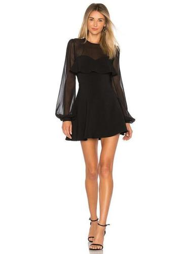 Sexy Black Long Sleeve Mini Dresses