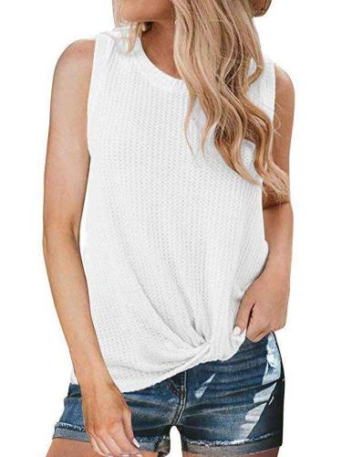 Casual Round Collar And Knotted Sleeveless T-Shirt