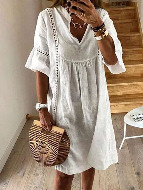 Casual Pure V neck Half sleeve Hollow out Shift Dresses