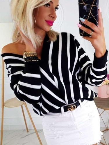 Fashion Stripe V neck Long sleeve Sweaters
