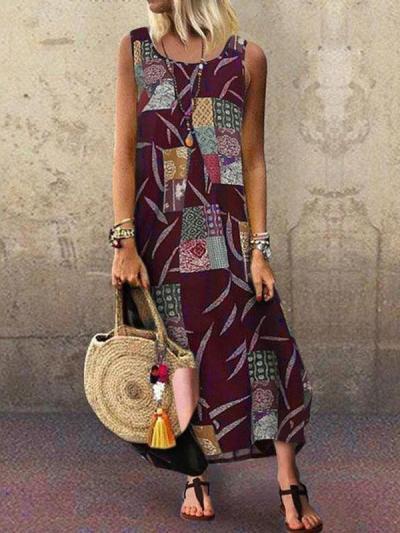 Women Bohemia Style Fashion Peinted Sleeveless Maxi Dresses