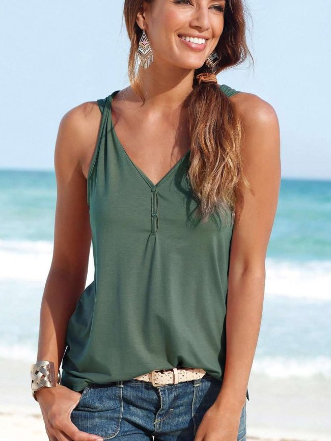Sexy Casual V neck Fastener Vests