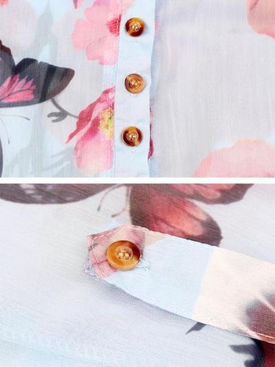 V neck button chiffon long sleeve t-shirts