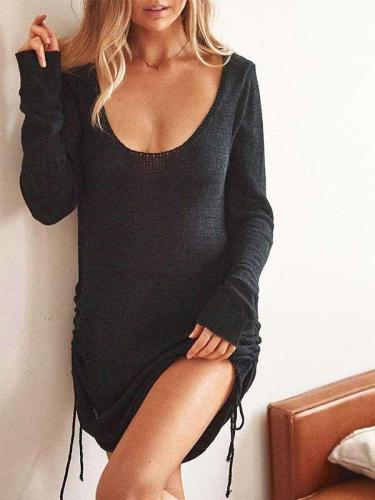Fashion Sexy Pure Round neck Long sleeve Lacing Bodycon Dresses
