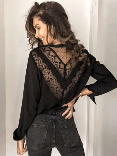 Casual Pure V neck Lace Hollow out Long sleeve Blouses