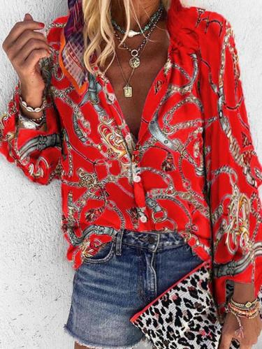 Fashion Turn Down Neck Women long sleeve printed blouses