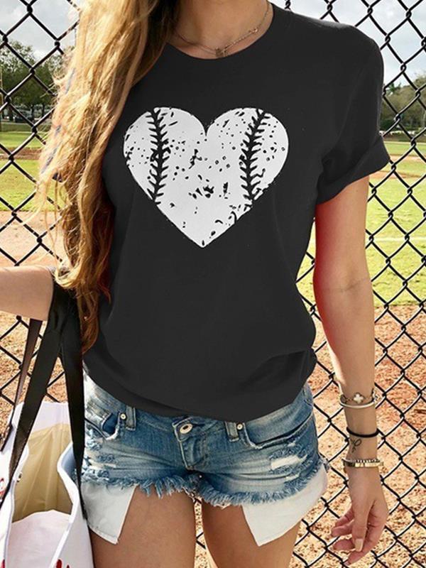 Baseball Heart Design Printed Daily T-shirts