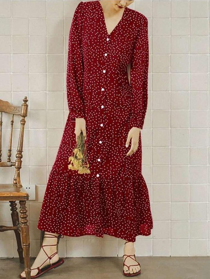 Fashion Print V neck Long sleeve Gored Falbala Fastener Maxi Dresses