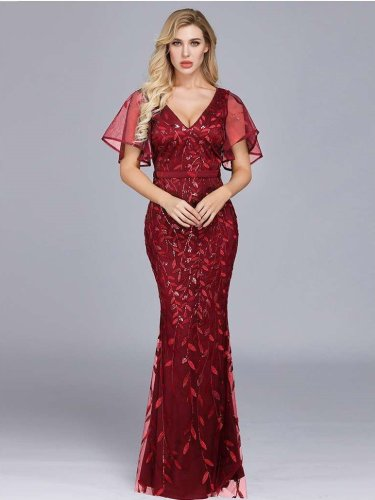 Sexy V neck  Ruffle sleeve Fishtail Evening Dresses