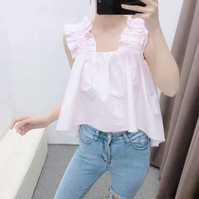 Fashion Square collar Sleeveless Falbala Backless Blouses