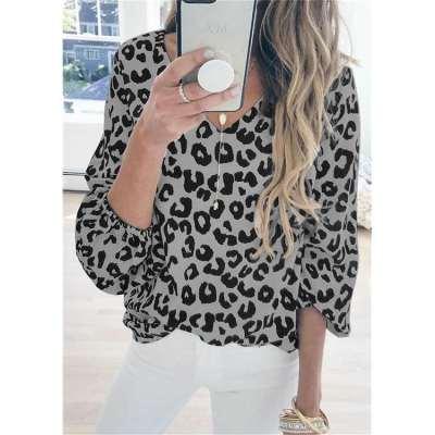 Fashion Casual Leopard print V neck Long sleeve T-Shirts