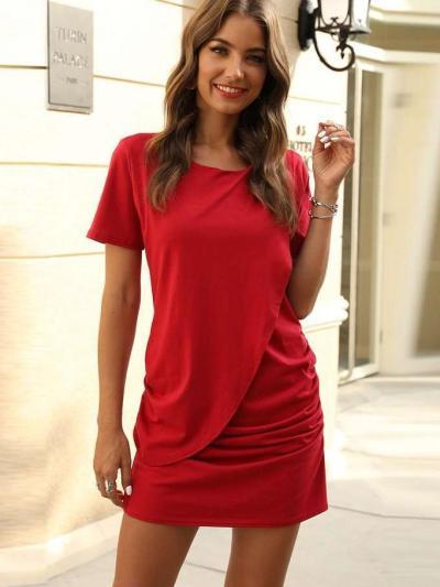 Fashion Pure Drape Short sleeve Round neck Bodycon Dresses