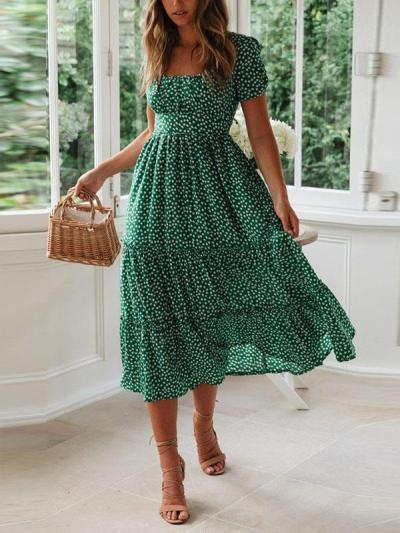 Fashion flower printed square neck short sleeve women maxi dresses