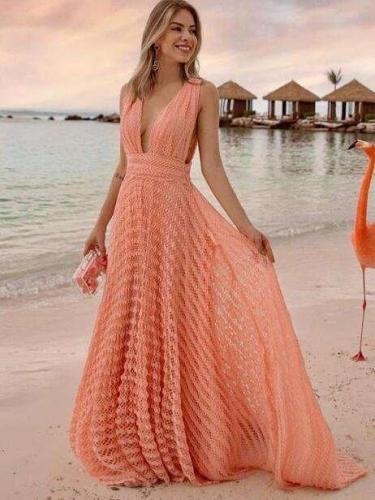 Sexy V neck Pure Lace Vacation Dresses