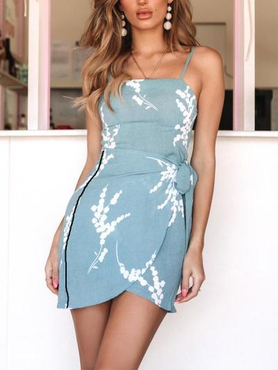 Summer Condole Belt Printed Wrap Buttock Bodycon dress