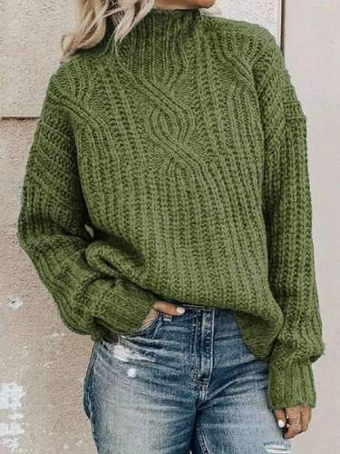 High neck Turtle neck women long sleeve plain sweaters