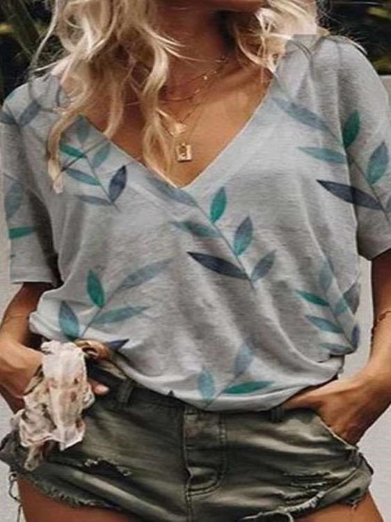 Casual Plus Print Short sleeve V neck T-Shirts