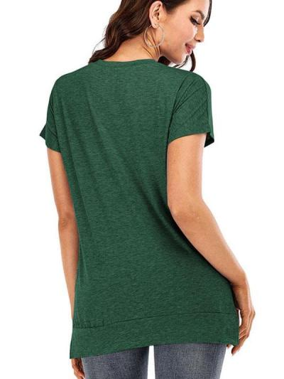 Solid color round neck Short sleeve T-shirts