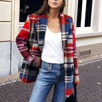 Fashion Casual Lapel Plaid Coats