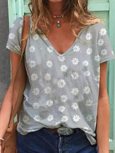 Casual Print V neck Short sleeve T-Shirts