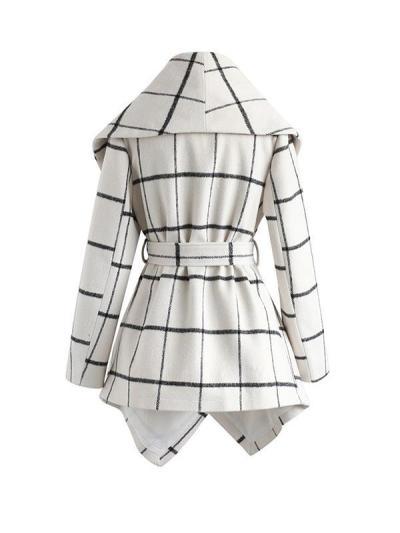 Women woolen big lapel elegant long coat