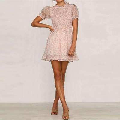 Fashion Print Falbala Short sleeve Skater Dresses