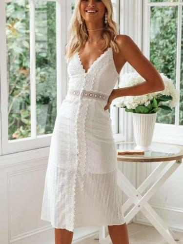 Fashion Lace Backless Vest Maxi Dresses