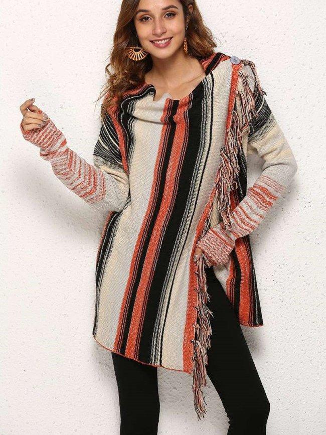 Fashion Stripe Purl Knit Cappa Cardigan Sweaters