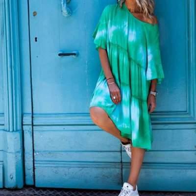 Fashion Print Drape Half sleeve Shift Dresses