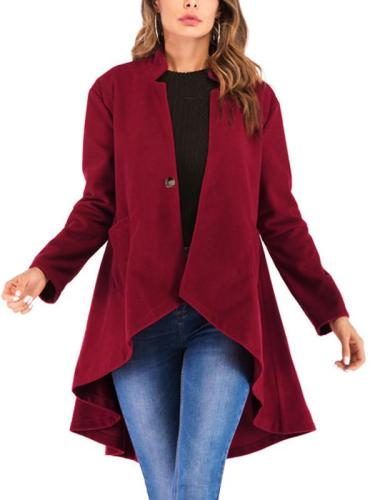 Solid Color Stand-Up Collar Worsted Pocket Woman Coat