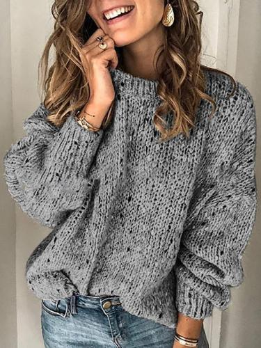 Vintage solid color round neck multi-color sweaters