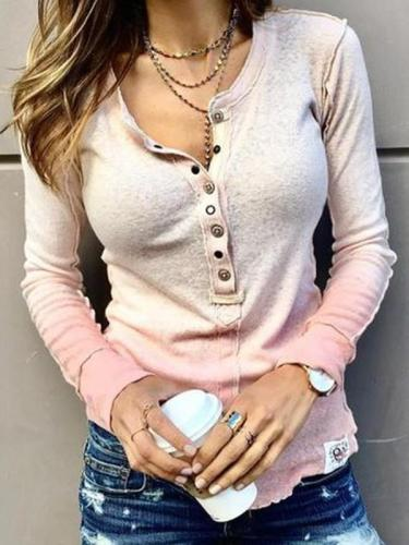 Women casual button round neck long sleeve T-shirts