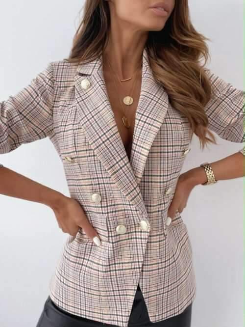 Fashion Plaid Lapel Long sleeve Double-breasted Blazer