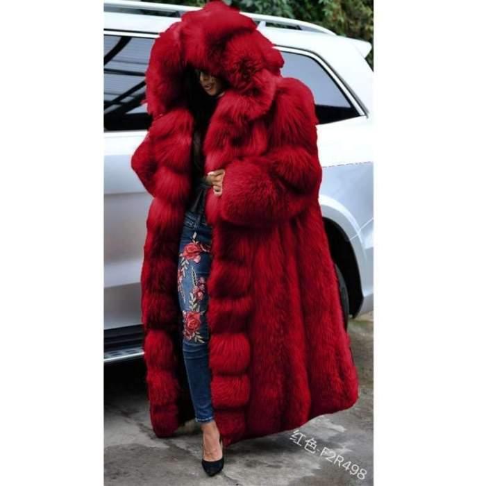 Fashion Casual Pure Fur Hoodie Long sleeve Coats