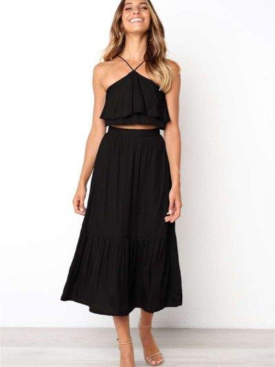 Summer Fashion Vest Backless Suit Skater Dresses