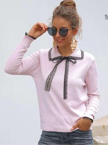 Fashion Lace Lapel Long sleeve Knit Sweaters