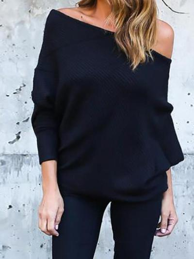 Sexy off shoulder bat sleeve T-shirt with threaded sleeves