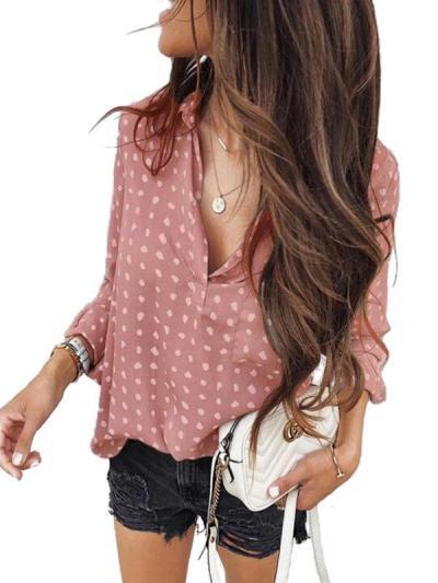 Wave pot printed Turn down collar women long sleeve blouses