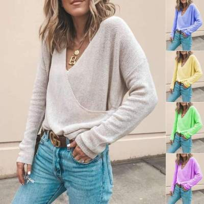 Casual Loose Pure V neck Long sleeve Sweaters