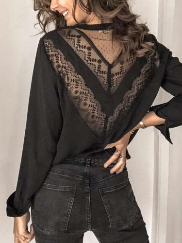 Women lace fashion long sleeve Blouses