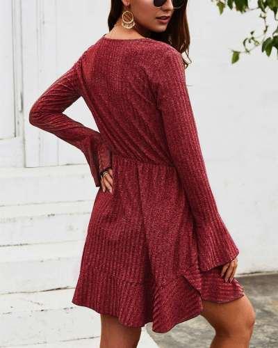 Fashion V neck Falbala Long sleeve Skater Dresses