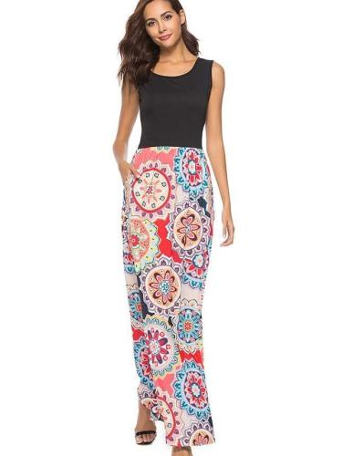 Floral Sleeveless Gored Maxi Dresses