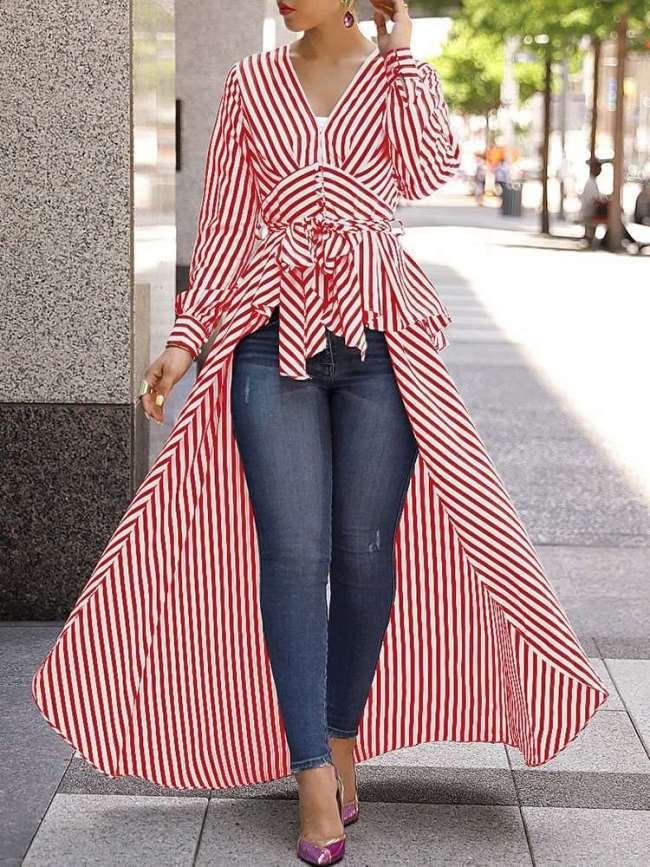 Fashion V neck Stripe Lacing Irregular Skirt Maxi Dresses