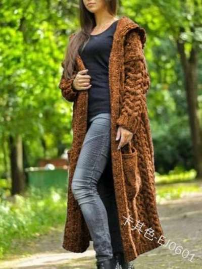 Fashion Casual Pure Knit Long sleeve Hoodie Coats