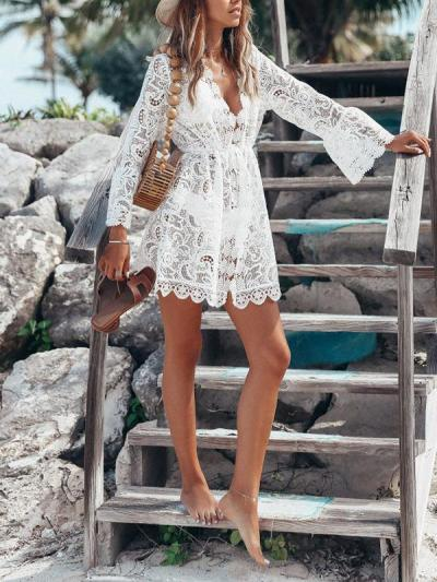 Elegant Lace suntan vacation dresses
